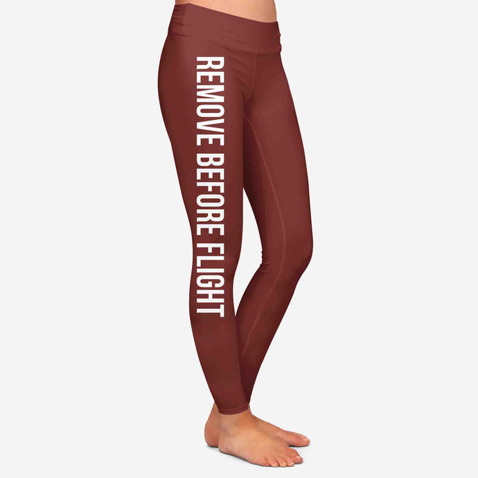 Remove Before Flight 2-Dark Red Designed Women Leggins