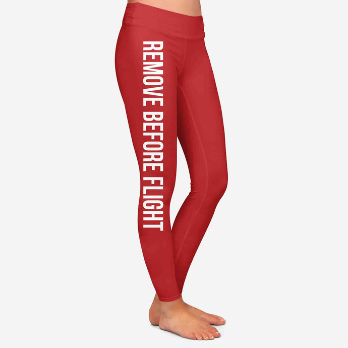 Remove Before Flight 2-Red Designed Women Leggins
