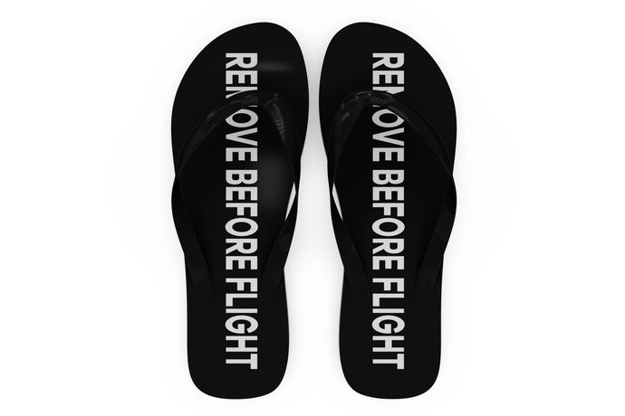 Remove Before Flight 2 (Black) Designed Slippers (Flip Flops)