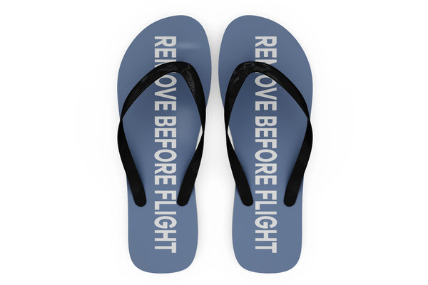 Remove Before Flight 2 (Blue) Designed Slippers (Flip Flops)