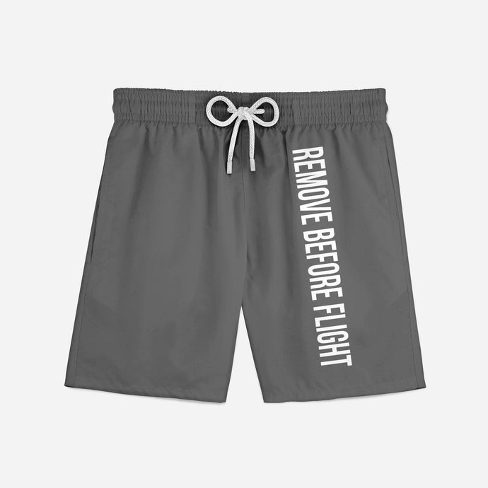 Remove Before Flight 2 (Gray) Swim Trunks & Shorts
