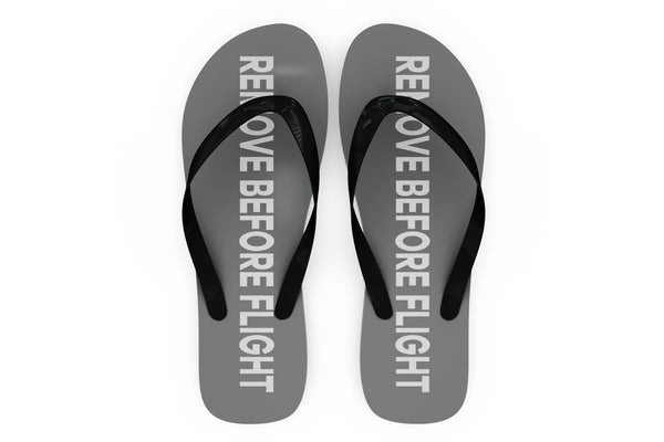 Remove Before Flight 2 (Gray) Designed Slippers (Flip Flops)