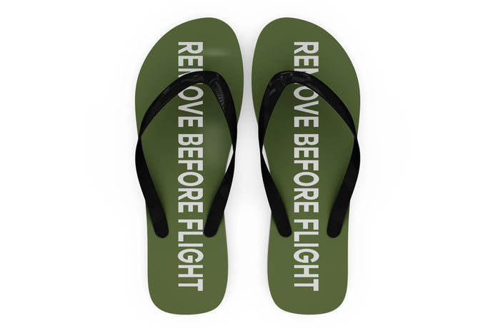 Remove Before Flight 2 (Green) Designed Slippers (Flip Flops)
