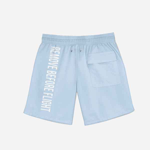 Remove Before Flight 2 (Light Blue) Swim Trunks & Shorts