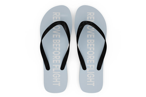 Remove Before Flight 2 (Light Blue) Designed Slippers (Flip Flops)