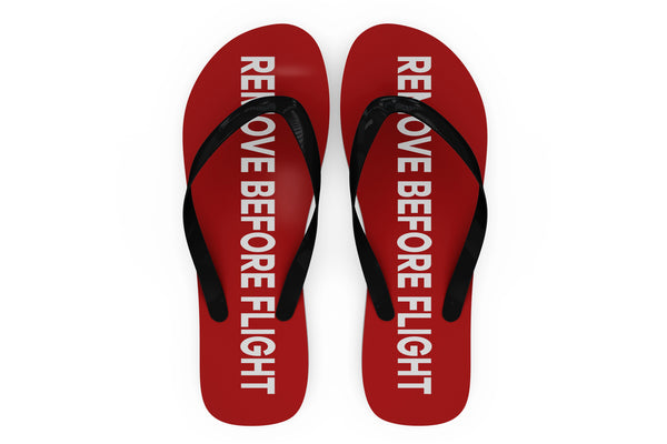 Remove Before Flight 2 (Red) Designed Slippers (Flip Flops)