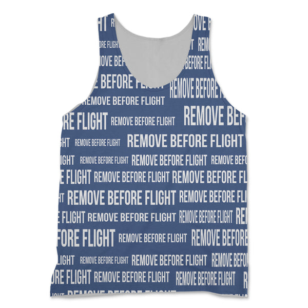 Remove Before Flight 3 (Blue) Designed 3D Tank Tops