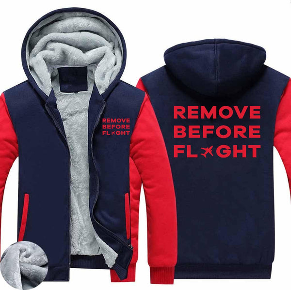 Remove Before Flight Designed Zipped Sweatshirts