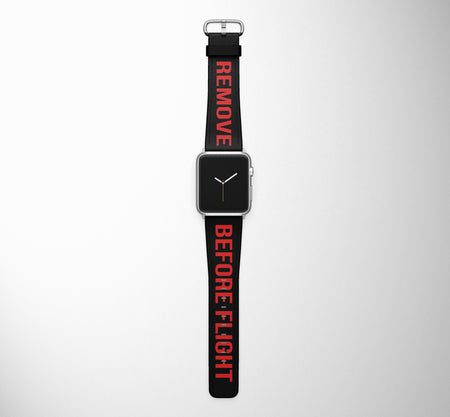 Remove Before Flight (Edition 2) Black Designed Leather Apple Watch Straps