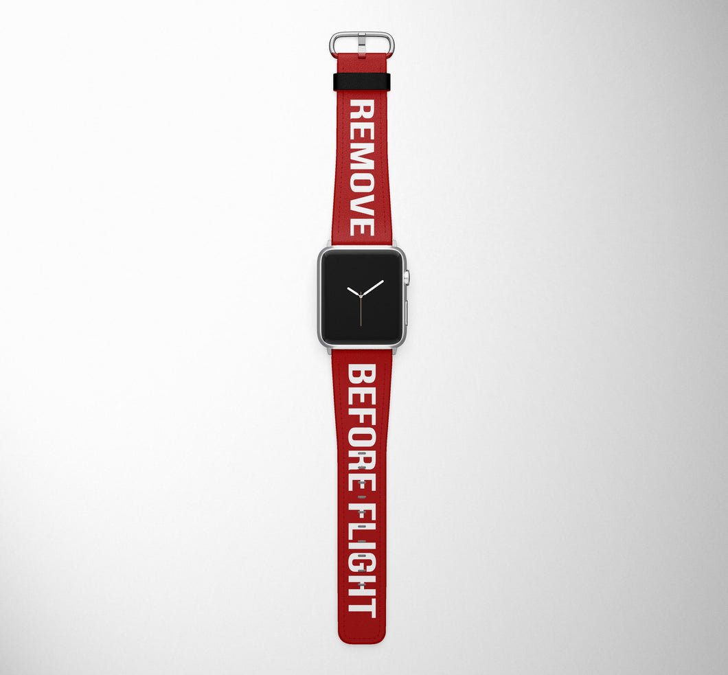 Remove Before Flight (Edition 2) Red Designed Leather Apple Watch Straps