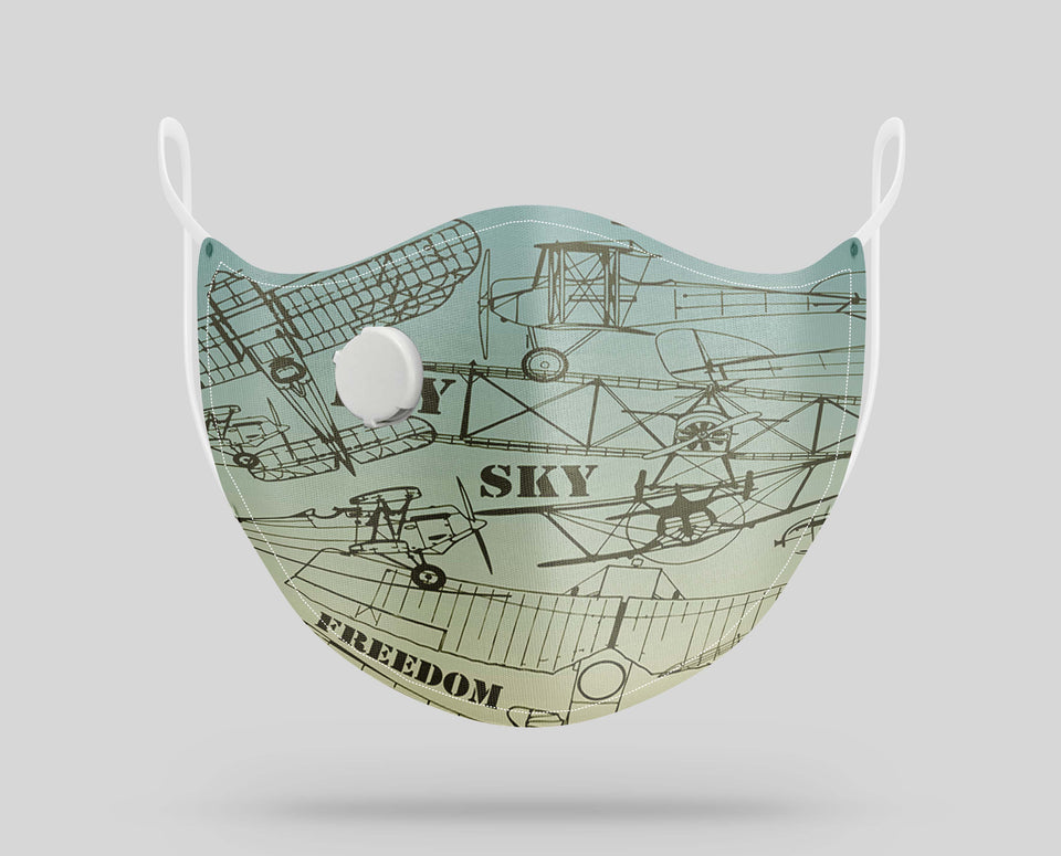 Retro Airplanes & Text Designed Face Masks