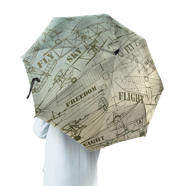 Retro Airplanes & Text Designed Umbrella
