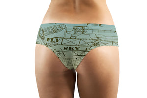 Retro Airplanes & Text Designed Women Panties & Shorts