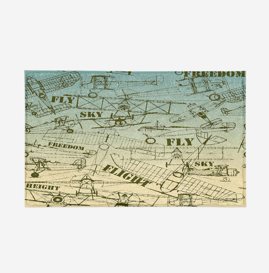 Retro Airplanes & Text Designed Door Mats