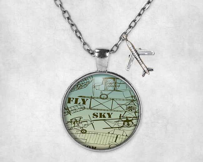 Retro Airplanes & Text Designed Necklaces