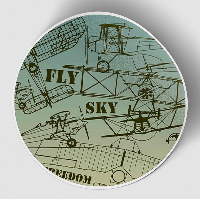 Retro Airplanes & Text Designed Stickers