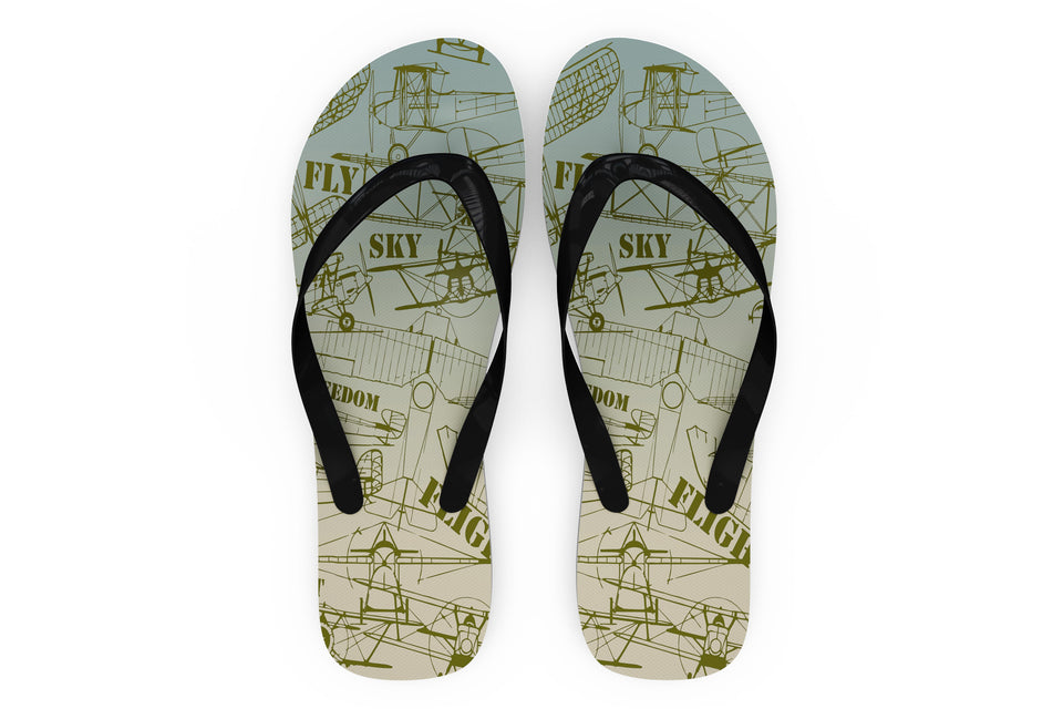 Retro Airplanes & Text Designed Slippers (Flip Flops)