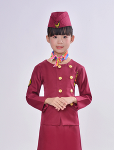 """Wine Red"" Colored Hostess & Stewardess Uniform for Children"