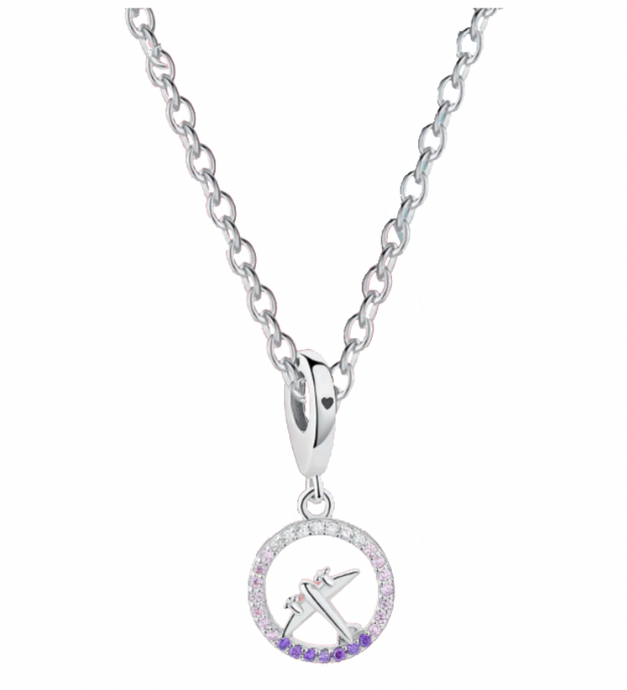 Super Cute Airplane Shape in Circle Designed Necklace