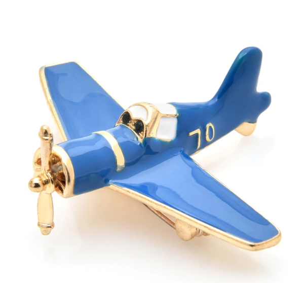 Blue Very Nice Small Airplane Shape Brooches