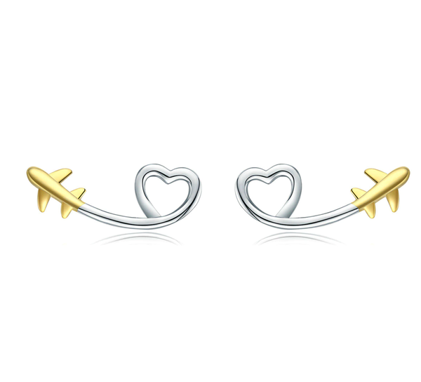 100% 925 Sterling Silver & Gold Airplane Shape Earrings