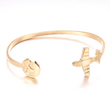 2 Pieces Golden Colour Airplane Bracelets