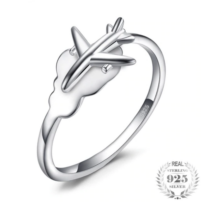 925 Sterling Silver Airplane Shape Designed Ring