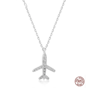 Super Silver Crystal Designed Airplane Necklace