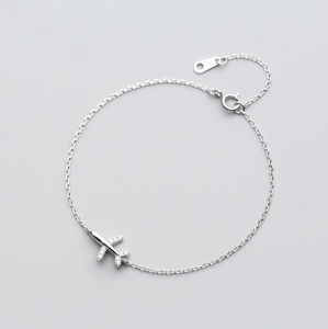 925 Solid Real Sterling Silver Airplane Shape Bracelet