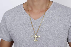 Customizable Airplane Shape Gold Colour Stainless Steel Necklace