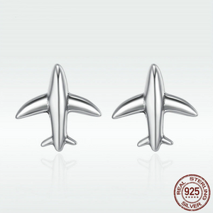 100% 925 Sterling Silver Cute Airplane Shape Earring