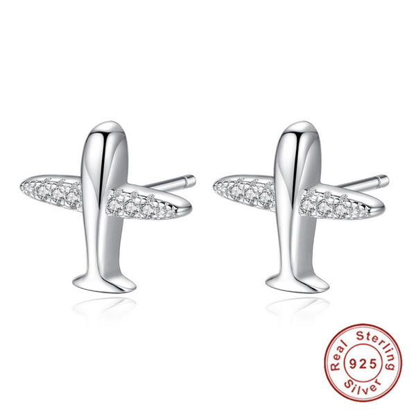 925 Silver Sparkling Airplane Shape Designed Earrings