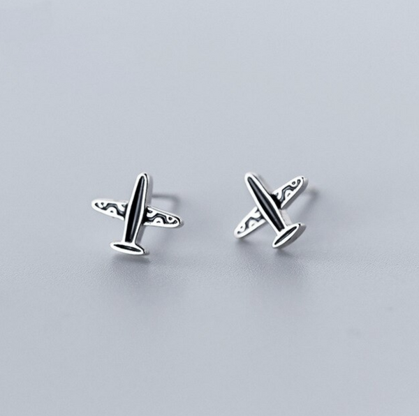 Special Designed 925 Sterling Silver Airplane Earrings