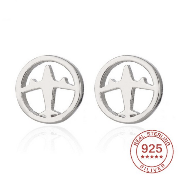 Airplane & Circle Shape Earring