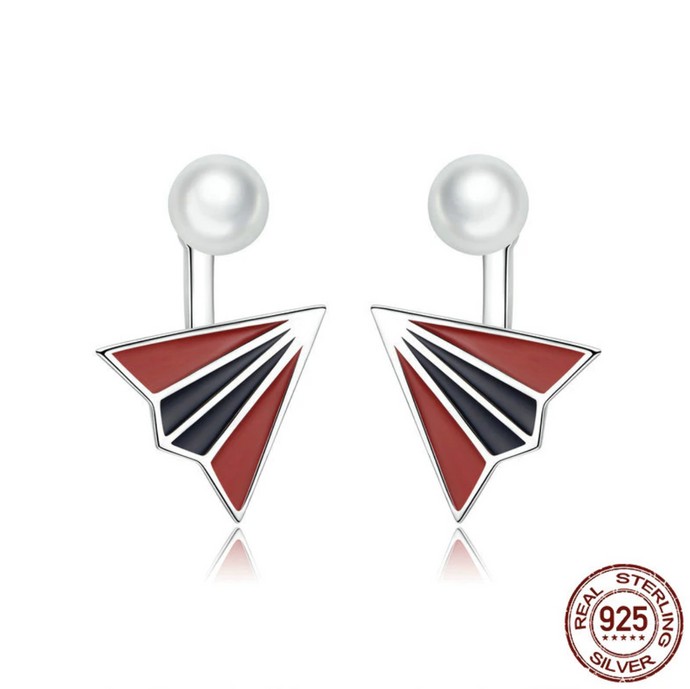 3D Colourful Paper Airplane Shape Designed Earring