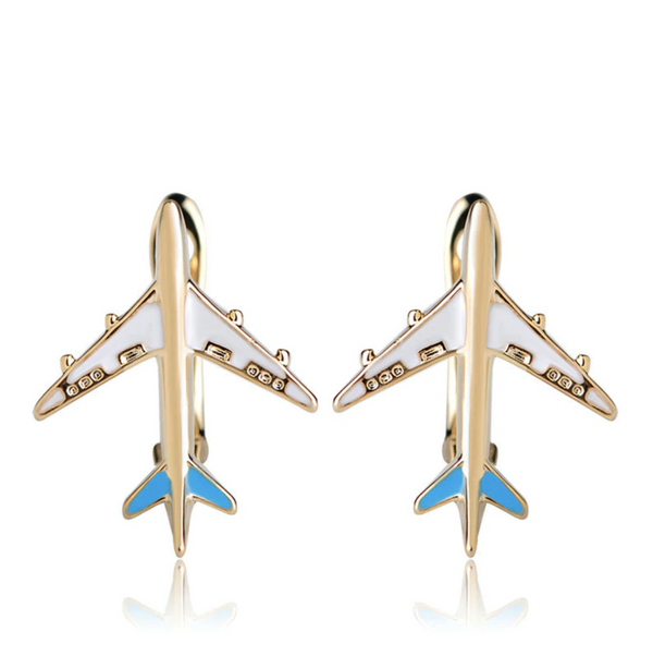 Colourful Airplane Shape Designed Earrings