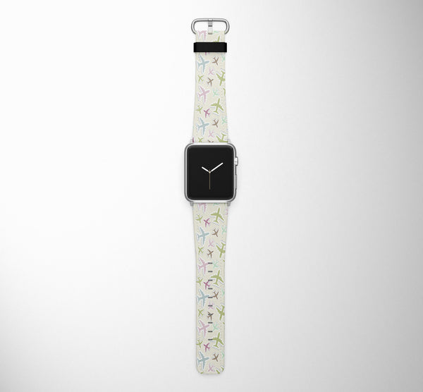 Seamless 3D Airplanes Designed Leather Apple Watch Straps