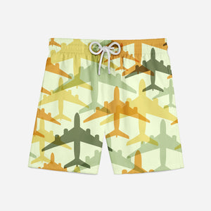 Seamless Colourful Airplanes Designed Swim Trunks