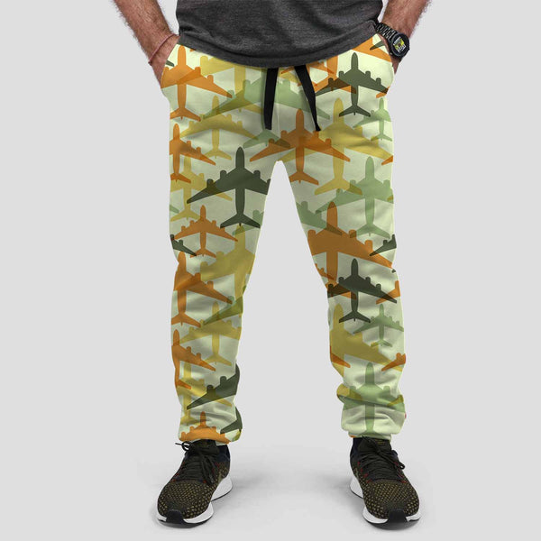 Seamless Colourful Airplanes Designed Sweat Pants & Trousers