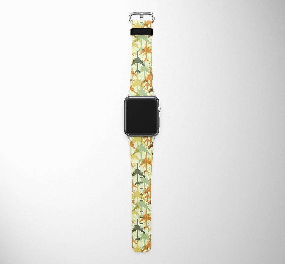 Seamless Colourful Airplanes Designed Leather Apple Watch Straps