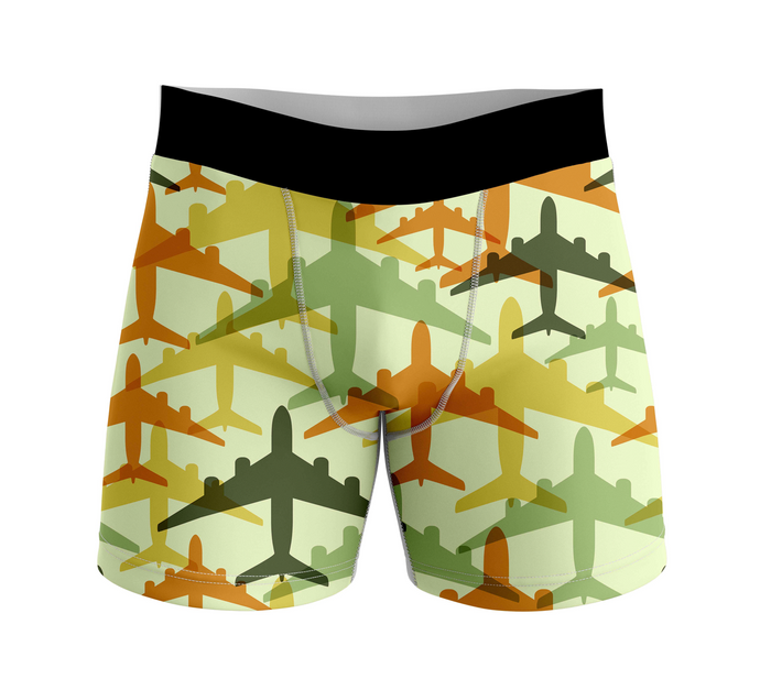 Seamless Colourful Airplanes Designed Men Boxers