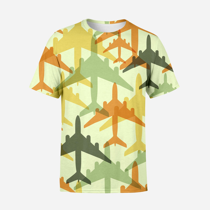 Seamless Colourful Airplanes Designed 3D T-Shirts