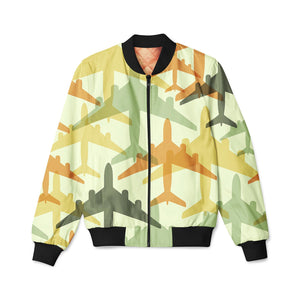 Seamless Colourful Airplanes Designed 3D Pilot Bomber Jackets