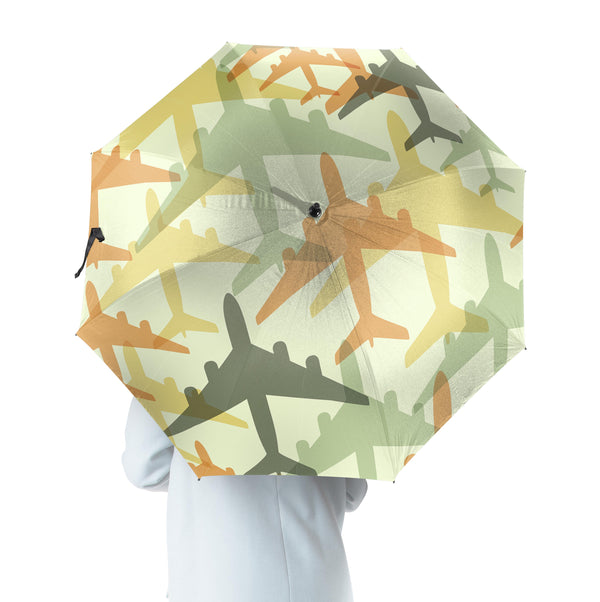 Seamless Colourful Airplanes Designed Umbrella