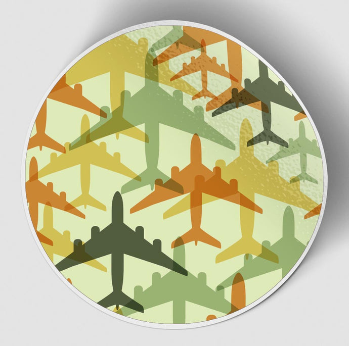Seamless Colourful Airplanes Designed Stickers