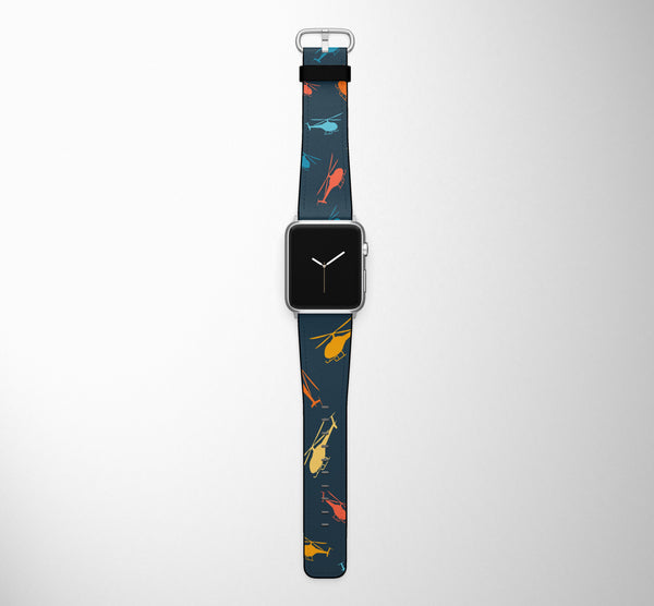 Seamless Colourful Helicopters Designed Leather Apple Watch Straps