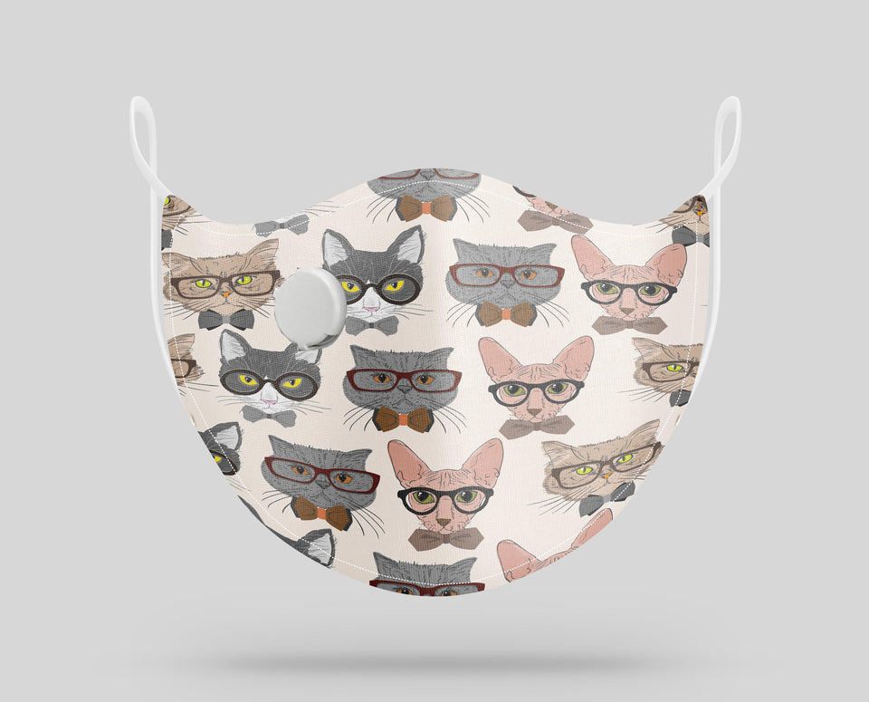 Seamless Serious Cats Designed Face Masks