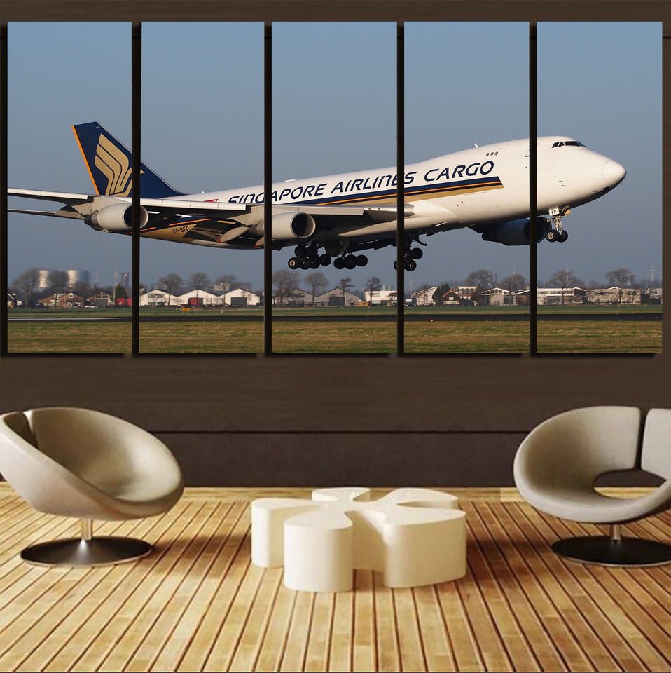 Singapore Airlines Cargo Boeing 747 Printed Canvas Prints (5 Pieces) Aviation Shop