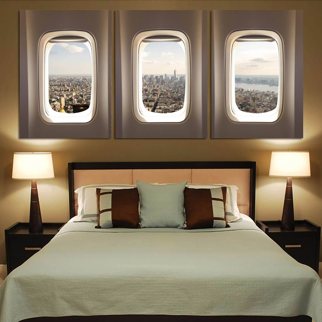 Skyscrapers thorugh Airplane Window Printed Canvas Posters (3 Pieces) Aviation Shop