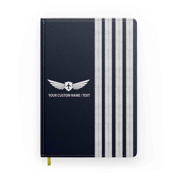 "Customizable Name & Special ""SILVER"" Pilot Epaulettes Designed Notebooks"